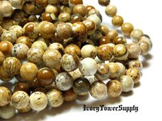 1 Strand 6mm Picture Jasper Beads, Gemstone Beads, Natural Stone Beads, Brown Beads, Semi Precious Beads, Round Beads by IvoryTowerSupply on Etsy