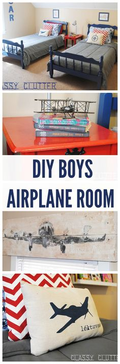Little Boys' Airplane Room Makeover (on A Budget)