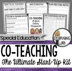 Special Education CoTeaching (inclusion) is a very rewarding opportunity for a special education teacher and a general education teacher to teach along side each other in a heterogeneous setting.  This Ultimate Co-Teaching Start-Up kit is perfect for those that are new to co-teaching or are co-teaching with a new partner.