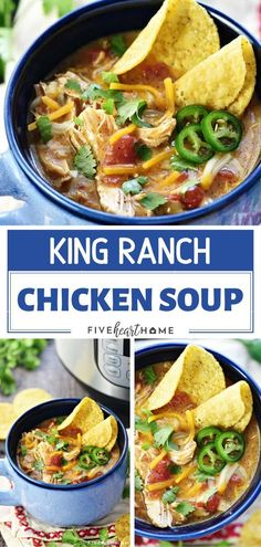 King Ranch Chicken Soup is the best comfort food for the cold weather! This hearty winter recipe is creamy and has all the flavors of the classic casserole. It is easy to make in the slow cooker, Instant Pot, or stovetop! Save this dinner idea for later! Best Soup Recipes, Easy Dinner Recipes, Real Food Recipes, Dinner Ideas, Budget Recipes, Veg Recipes, Simple Recipes, Chili Recipes, Turkey Recipes