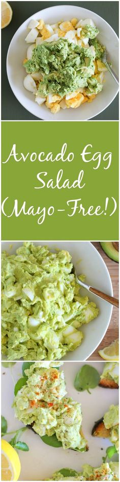 Avocado Egg Salad (Mayo-Free!) - an easy 4-ingredient lunch recipe | theroastedroot.net #paleo: