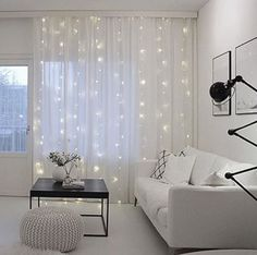 11 String Lights On Curtains To Add Light Accent The Window And Add A Sparkly Touch - Home Decor & Design Teen Room Decor, Living Room Decor, Bedroom Decor, Ideas Hogar, Living Room Lighting, Style At Home, New Room, Home Fashion, Home Decor Inspiration