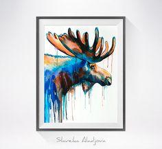 Peinture aquarelle orignal imprimer, animaux aquarelle, peinture animalière, art animalier, portrait animaux, art de Moose, peinture de Moose, affiche de Moose