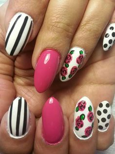 Nails design with a flare of Betsey Johnson...