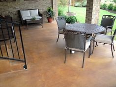 Stained concrete patio without a pattern