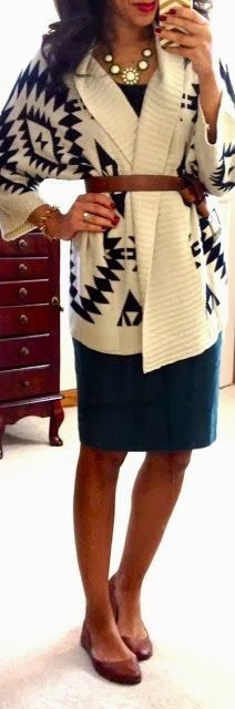 Aztec sweater fashion for winter | Thick sweater + pencil skirt...but most importantly...that belt!