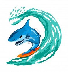 Illustration of cartoon angry shark serfing on a wave vector art, clipart and stock vectors. Fish Surfboard, Shark Illustration, Surf Logo, Waves Vector, Royalty Free Images, Vector Art, Graffiti, Surfing, Sketches