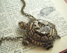 Steampunk Necklace Turtle Vintage Watch Movement Nautical Sealife Jewelry Rustic Antiqued Bronze Brass Rolo Chain.