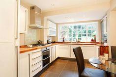 White gloss kitchen contrasting oak top