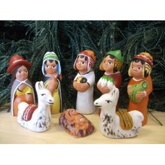Peru nativity set 8 piece - two llamas #christmas