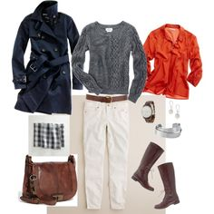 #47 Cableknit & Cords by bluehydrangea on Polyvore featuring Madewell, J.Crew, FOSSIL, Stella & Dot, Warehouse, trench coats, printed scarves and boots