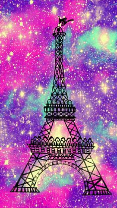 Sweet Eiffel Tower galaxy iPhone/Android wallpaper I created for the app CocoPPa!