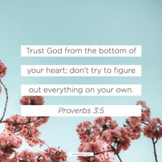 Trust God from the bottom of your heart; don't try to figure out everything on your own. Proverbs 3:5