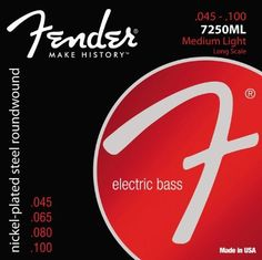 Fender Accessories 073-7250-405 Nickel Plated Bass Guitar Strings, Light by Fender. $14.96. Fender super bass 7250's are an excellent all-purposebass string. they are particularly good for rock, funk, andany style in which the bass needs to cut through.fender super bass 7250's combine the high output anddynamic sound of steel with the smooth feel of nickel.the result is a string with bright highs and a thunderouslow end.super bass 7250's are installed at the factory onal...
