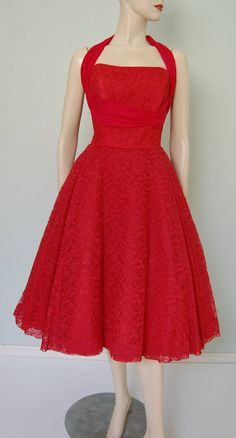 1950s Neiman Marcus Lace Halter-Neck Dress with Silk Chiffon Detail in Fire Engine Red
