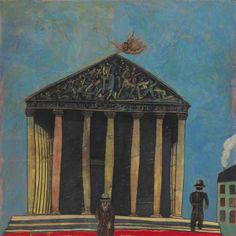 Antonio Seguí – La Madeleine, 1982; Acrylic and collage on canvas, 76.5x77 in