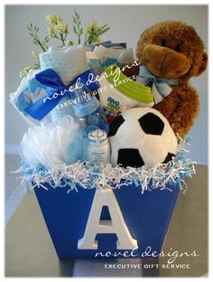 Personalized Baby Boy Blue Gift Basket. #Baby #GiftBaskets #Delivered #LasVegas