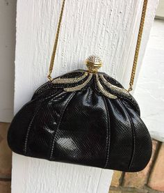 Black retro snakeskin bag trimmed with rhinestones, Finesse La Model evening bag, snakeskin clutch, vintage purse, ladies accessories by TwoSwansSwimming on Etsy