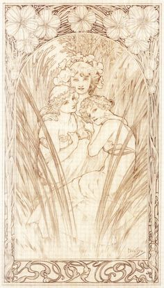 Alphonse Maria Mucha | Sketch for Plate 3 | Documents Décoratifs | published in 1902