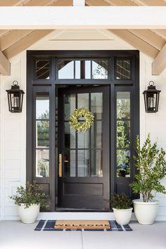 Front Door Design, Front Door Decor, Front Porch, Front Door Entry, Front Door Planters, Entry Doors, Black Front Doors, Best Front Doors, Custom Home Builders