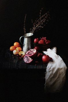 """Oatgasm: Pomegranate Chia Seed Parfaits in a """"chiaroscuro"""" food photography."""