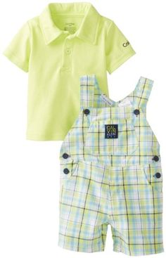 Calvin Klein Baby-Boys Newborn Polo Top with Plaided Shortall - List price: $42.00 Price: $28.99