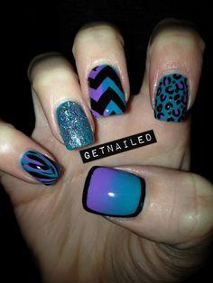 Purple, Blue, and Black