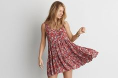 AEO Tiered Babydoll Dress  by  American Eagle Outfitters | Define your look with an effortless silhouette and true style that's all in the details. Shop the AEO Tiered Babydoll Dress  and check out more at AE.com.