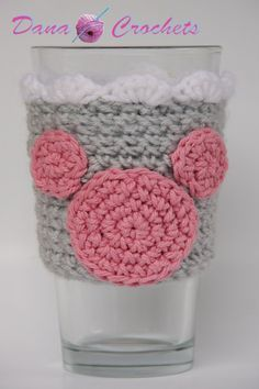 Pink and Gray Mouse Crochet Coffee Cup Cozy with Ruffle by Dana Crochets