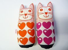Sweet heart Kitty Plush by Jane Foster on etsy