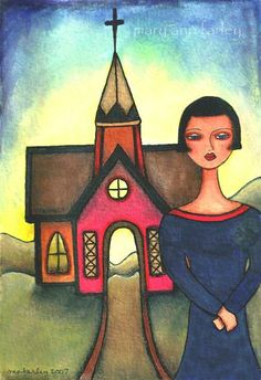 ACEO ATC Print, Americana Art Print, Church and Girl, Inspirational Whimsical Spiritual Illustration, Religious, Watercolor 5 x 7, Red Blue by maryannfarley on Etsy https://www.etsy.com/listing/161492475/aceo-atc-print-americana-art-print