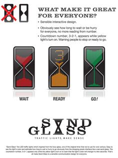 "Traffic signal hour glass design. For traffic lights. Great example of behavioral economics and ""gamification"" at work."