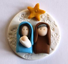 Nativity polymer clay/fimo embellishment/magnet by AngelsNestEtsy