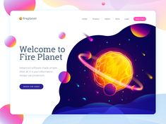 Fantastic fire planet illustration with header part of the website.