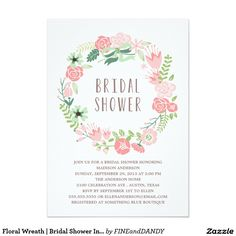 Floral Wreath | Bridal Shower Invitation