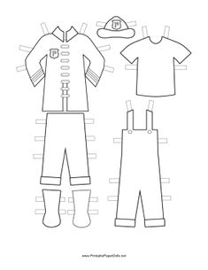 These free, printable Fireman Paper Doll uniforms feature the firefighter coat, badge and helmet that go over the t-shirt and overalls that serve as underclothes. Free to download and print