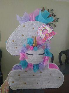 Número uno de unicornio, fiesta de unicornio. Síguenos en facebook ART-piñatas.