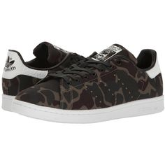 adidas Originals Stan Smith Camo (Core Black/Footwear White/Core... ($85) ❤ liked on Polyvore featuring men's fashion, men's shoes, men's sneakers, black and white mens shoes, mens camo shoes, mens sneakers, mens white shoes and mens black tennis shoes