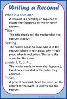 Writing a Recount Cheat Sheet English - Writing Talk 4 Writing, Recount Writing, Writing Genres, Writing Strategies, Writing Lessons, Writing Workshop, Writing Process, Kids Writing, Teaching Writing