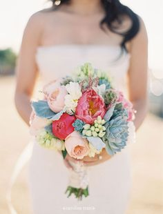 🌸The Bouquet...Peonies And Succulents With Fuzzy Leaves  Textures And Colors Are Perfection