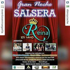 #Repost @eventosenmargarita with @repostapp  #EventosEnMargarita Vía #Repost @ritmoycache with @repostapp  Mi gente lo que estabas esperando  EL BINGO REINA MARGARITA  Te invita al CONCIERTO SALSERO q estara realizando en el salon VIP de la sede de sus instalaciones este 16 DE ABRIL.!! Por Venezuela: #JimmyElLEON de la salsa y #WILMERLOZANO EL EX-ADOLESCENTE y su #OrquestaLACLAVE directamente desde Maracay .!! POR #CUBA : La EXCELENTE ORQUESTA #LATABLA y las Preciosas Chicas con su…