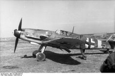 Bf 109 fighter preparing for flight at an airfield, Germany (1942/44)