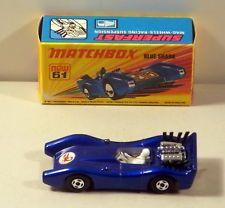 DTE MATCHBOX SUPERFAST 61 BLUE SHARK W/SCORPION HOOD LABEL NIOB