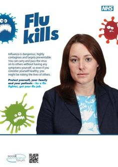 NHS Employers #flufighter awareness poster ~NHS supply chain & Healthcare Personnel Supplies - high calibre salaried and locum staffing - Doctors, Nurses