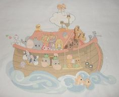 Completed Precious Moments Noah's Ark Baby Cross Stitch Beautiful Sale Price | eBay