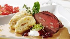 Knedlíky or dumplings are the Czech side dish made from wheat or potato flour and boiled in water as a roll and then sliced and served hot. Potato Flour, Pavlova, Most Popular, Dumplings, Stew, Side Dishes, Bacon, Rolls, Potatoes