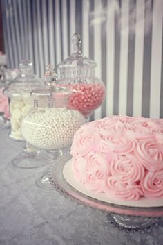 love the soft pinks especially the rose swirl cake (easy to do) baby shower