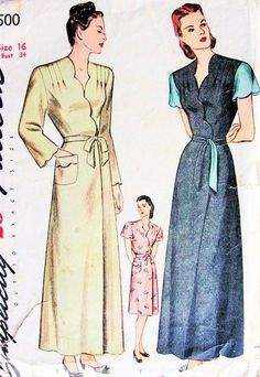 1940s Glam Housecoat Robe Pattern Simplicity 1500 Film Noir Style Wrap Around Lounge Coat Hostess Gown Bust 34 Vintage Sewing Pattern by sharlene