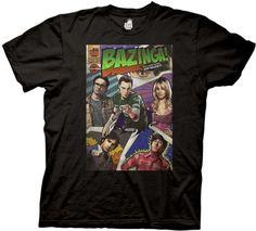 Big Bang Theory Bazinga Comic Book Cover Black Tee (Large)