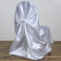 White Universal Satin Chair Covers | eFavorMart
